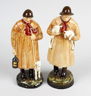 A pair of Royal Doulton figures. 'The Shepherd' HN1975 and 'Lambing Time' HN1890, each modelled as a