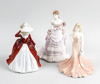 A group of Doulton, Coalport and Worcester figures. Comprising four Coalport ladies, including 'Ladi