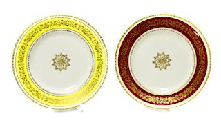 A set of six Royal Worcester porcelain Long Service plates. Awarded to Flo Harvey for 10, 15, 20, 25
