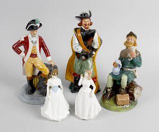 A group of five Royal Doulton figures. Comprising 'Cavalier' HN2718, 10 (26 cm), 'Robin Hood' HN2773
