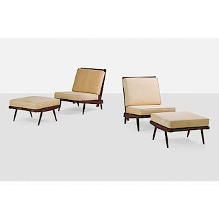 GEORGE NAKASHIMA Two Cushion chairs and ottomans