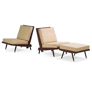 GEORGE NAKASHIMA Two cushion lounges and ottoman
