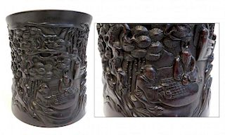 19th C. Zitan Carved Brush Pot