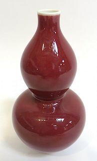 """19th C. Red """"Oxblood"""" Porcelain Vase"""