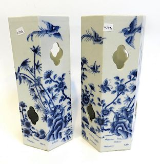 Pair Chinese Blue & White Hat Stands
