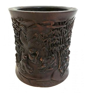 Carved Roswood Brush Pot