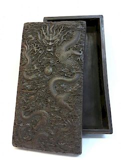 Chinese Dragon Carved Zitan Box