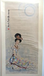 Chines Watercolor Scroll: Woman In Colorful Dress