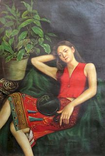 Chinese Oil On Canvas Of Woman In Red