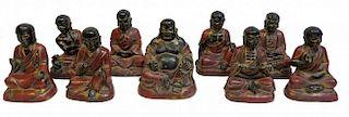 Nine Luohan Bronze Figurines, 19th C.