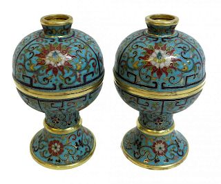 Pair 19th C. Chinese Cloisonne Lidded Containers