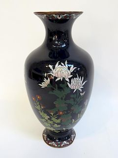 Chinese Cloisonne Vase With Flowers