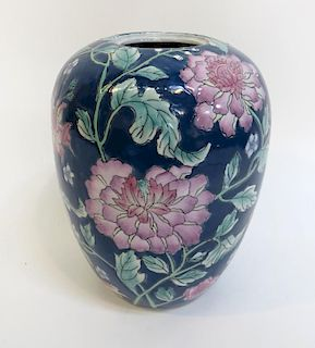 Blue Vase With Pink Roses