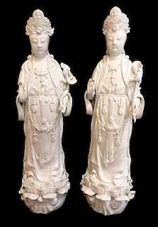 Pair Of Female Blanc Figures