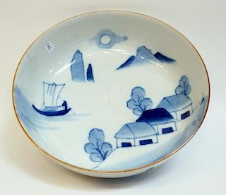 19th Century Blue & White Japanese Bowl