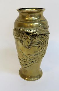 Bronze Vase With Rooster