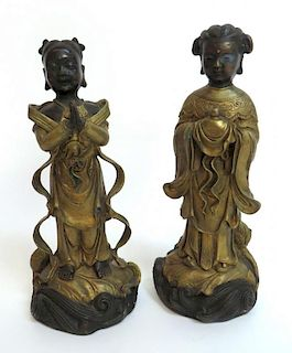 Two Metal Female Figures