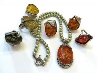 Amber Like Rings And Necklace.