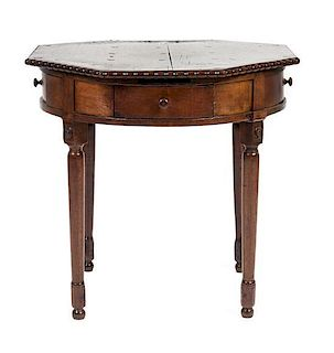 A Continental Oak Side Table Height 30 x diameter 29 inches.