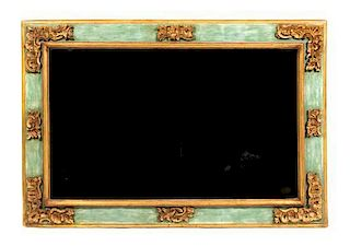 An Italian Style Painted and Parcel Gilt Mirror Height 35 x width 51 inches.
