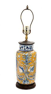 An Italian Majolica Vase Height overall 26 inches.