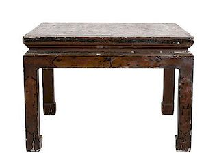 A Chinese Lacquered Low Table Height 16 inches x width 24 1/2 inches x depth 23 inches.