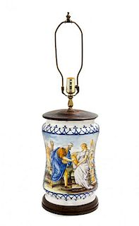 An Italian Majolica Jar Height overall 27 1/2 inches.