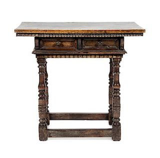 A Jacobean Style Walnut Side Table Height 30 1/2 x width 33 x depth 18 1/2 inches.