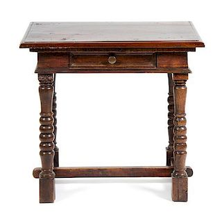A William and Mary Style Walnut Side Table Height 28 x width 18 x depth 27 inches.