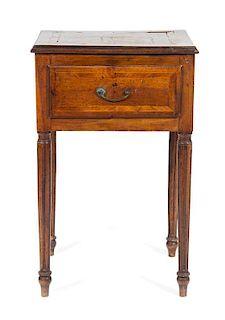 An Italian Walnut Side Table Height 32 1/2 x width 20 1/4 x depth 16 1/2 inches.