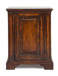 An Italian Walnut Side Cabinet Height 35 1/2 x width 28 x depth 14 1/2 inches.