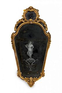 A Venetian Giltwood Mirror Height 35 x width 18 inches.