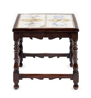 A William and Mary Style Tile Inset Side Table Height 18 3/4 x width 19 x depth 19 1/4 inches.