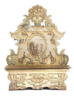 An Italian Painted Hall Bench Height 81 x width 64 x depth 13 inches.