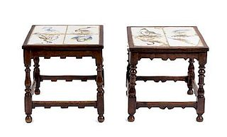 A Pair of William and Mary Style Tile Inset Side Tables Height 19 1/2 x width 18 3/4 x depth 18 3/4 inches.