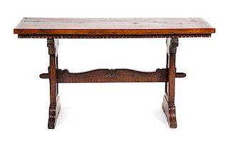 An Italian Walnut Trestle Table Height 58 x width 22 x depth 30 inches.