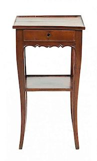 A Louis XV Style Walnut Side Table Height 27 1/4 x width 14 3/4 x depth 12 inches.