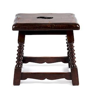 A Jacobean Style Oak Stool Height 17 x width 17 1/2 x depth 14 inches.