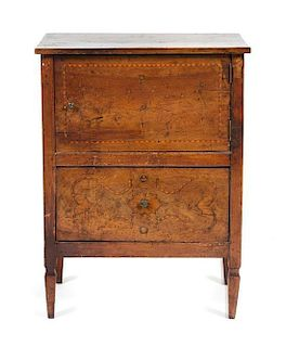 An Italian Marquetry Diminutive Commode Height 32 1/2 x width 24 x depth 13 7/8 inches.