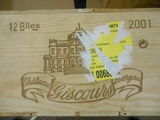 Chateau Giscours, Margaux 3eme Cru 2001, twelve bottles in owc. Removed from a private cellar in Nor