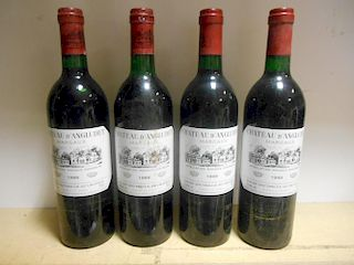 Chateau d'Angludet, Margaux 1988, four bottles (levels: one top shoulder others in neck); Chateau Mo