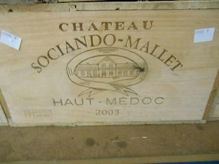 Chateau Sociando Mallet, Haut Medoc 2003, twelve bottles in owc <br>