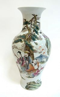 Chinese Vase With Figures & Bats