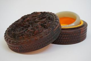 Carved Jade Bangle In Rosewood Box