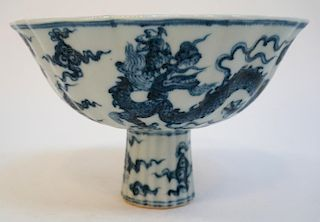 Ming Blue & White Footed Bowl