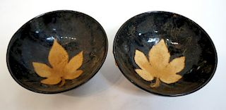 Pair Song Style Jianzhan Tea Bowls
