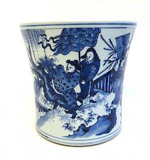 Blue & White Brush Pot
