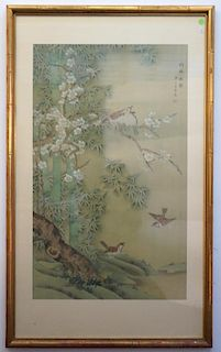 Chinese Painting Of Birds In Bamboo Forest