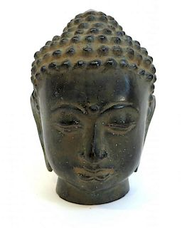 Patinated Bronze Buddha Head