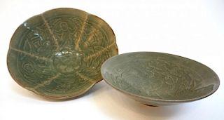 Two Green Glazed Bowls